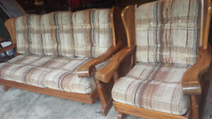 Couch set with solid oak.