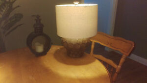 Table lamp with its lamp and one candle stand altogether 10$
