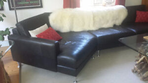 Full grain black leather sectional sofa from Norway