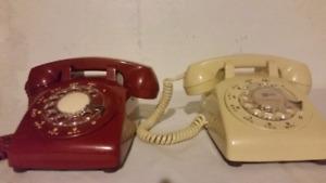 Pair of vintage rotary phones
