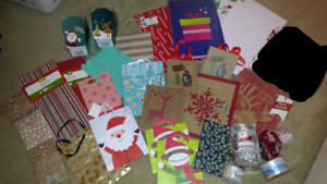 Lot of gift bags, boxes, ribbon etc