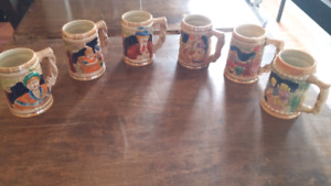 6 collectable steins