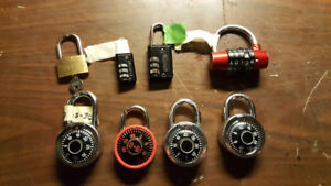 Pad locks with combinations or keys