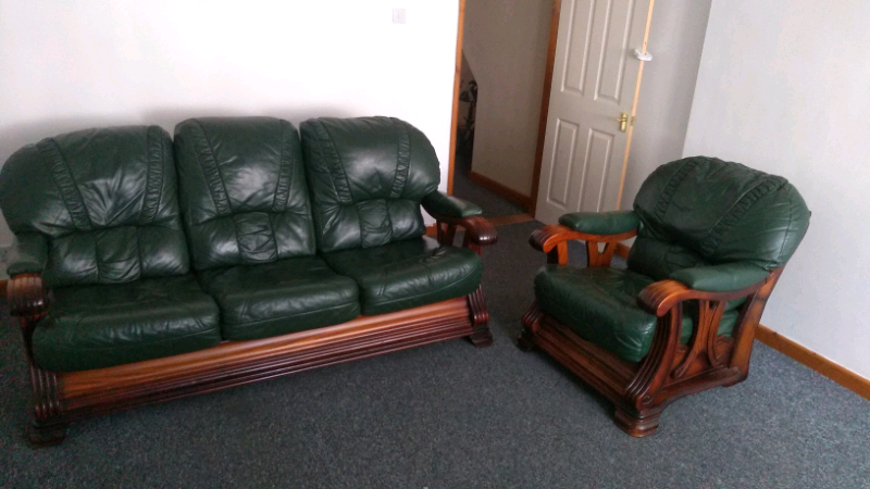 Italian Green Leather Sofa With Sofa Chair 07535327685 In Portsmouth Hampshire Gumtree