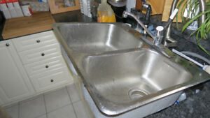 stainless steel kitchen sink Moen faucets all pieces are there