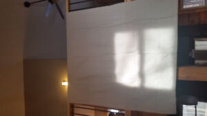 Tab top beige panel curtains