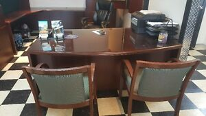 3 PIECE GENUINE WOOD EXEC BOARD ROOM OFFICE FURNITURE