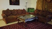 4 piece ashley sofa set with marble coffee table