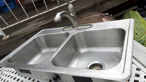 Kolher double stainless steel sink and faucet