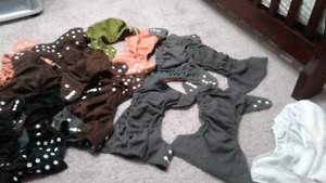 12 Charcoal Bamboo Cloth Diapers Double Gussets.