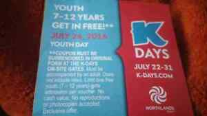 K Day Youth Admission Ticket
