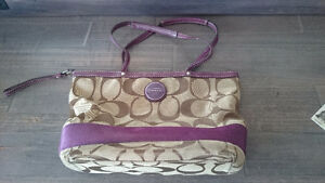 Purple and Brown Brand Name Coach Bag