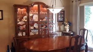 Dinning set. Table, chairs, with hutch