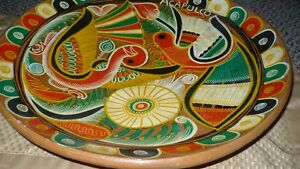 VINTAGE GORGEOUS MEXICAN TALVERA HAND PAINTED BIRDS CLAY PLATE Kitchener / Waterloo Kitchener Area image 3