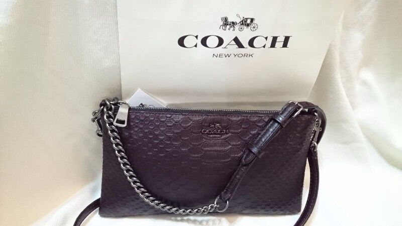 COACH EMBOSSED PYTHON KYLIE CROSS BODY LEATHER BAG