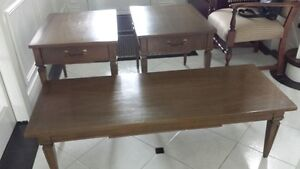 Vintage (1960's) solid oak coffee table & 2 matching end tables
