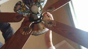 Antique style stained glass ceiling fan