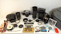 BRAND NEW CONDITION 1984 NIKON FG + 3 LENSES/SB-18 FLASH&GEAR