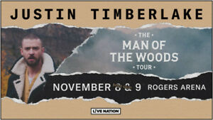 JUSTIN TIMBERLAKE @ Rogers Arena Nov. 8th - ROW 18 BELOW COST!