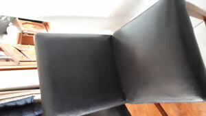 Black faux leather Kitchen chairs set of 6