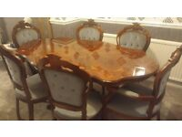Mahogany Polished Dining Table With 6 Chairs