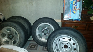 245 65 17 inch Wrangler tires mounted on rims
