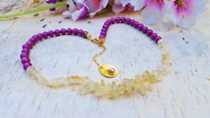 Raw Citrine & Purple Riverstone Handcrafted Choker Necklace