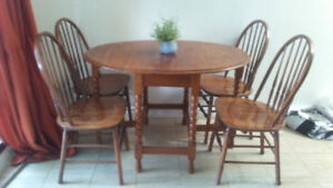Antique Wood Oval Table - Folding Sides