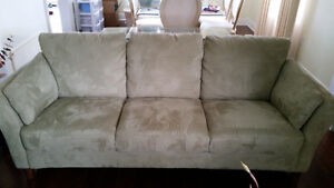 MOVE SALE!! Microfiber Couch; 2 Love Seat Chairs; Odoman opens