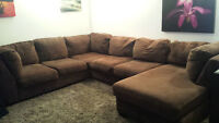 Large Brown Sectional Couch w/ Chaise