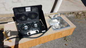 Sink and camp stove for tent trailer