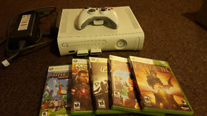 Xbox 360 with Five games, controller, hard drive & memory cards Kitchener / Waterloo Kitchener Area image 1