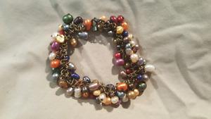 Beautiful custom made bracelet multicolored freshwater pearls