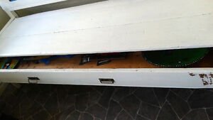 Huge painted primitive antique bench/couch with drawer Peterborough Peterborough Area image 3