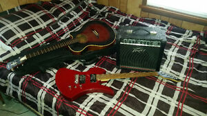 Acoustic and Electric Guitar with Amp