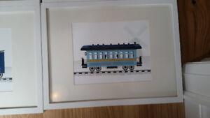 Lot of 6 x framed train pictures.  Great for nursery
