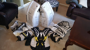 Goalie pads, chest, gloves, &  blockers