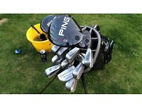 Full Set of Ping Woods and Irons + mixed Wedges + putter including bag