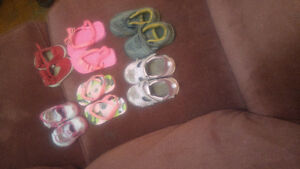Six pairs of girls toddler shoes