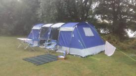 8 Man Skandika Montana Tent, Double Sleeping Bag, 3 Airbeds & Stove