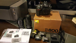 Nikon D800 w/ 2 lenses and 3 Nikon Batteries