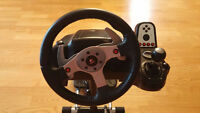 **LOGITECH WHEEL G25** LIKE **NEW** & RACING STEERING STAND PRO
