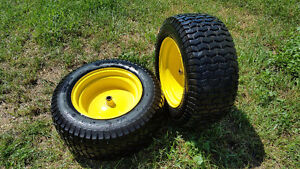Set of John Deere Rear lawn tractor tires and rims