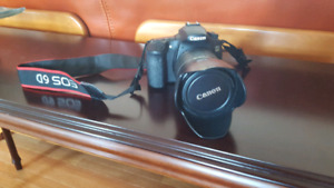 Canon 60D with 18-200mm lens and lens hood
