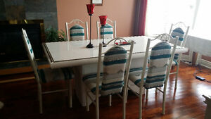 Off-White/Cream Dining Table and 6 Chairs - Leons London Ontario image 3