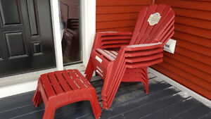 4 new red adirondack chairs and 3 ottomans