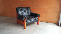 60's Vintage Teak Leather Chair with Ottomon