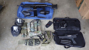 Three paintball  units and accessories