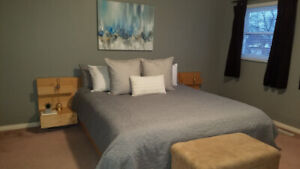 Ikea King bed frame with matching night table (birch coloured)