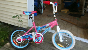 "Girl's  16"" bike with training wheels"